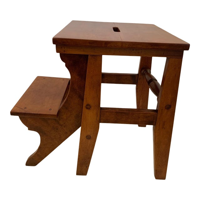Antique Birdseye Maple Library Steps For Sale