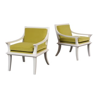 Pair of Modern Lacquer Lounge Chairs For Sale
