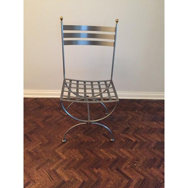 Brass & Iron Savonarola Side Chair For Sale - Image 9 of 9