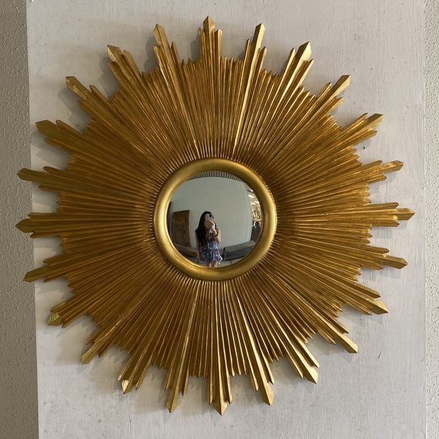 Modern Carvers Guild Starburst Wall Mirror For Sale - Image 3 of 9