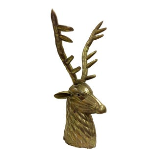 1970s Boho Chic Brass Deer Head For Sale