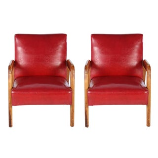 1940's Vintage Lounge Leather Chairs- A Pair For Sale