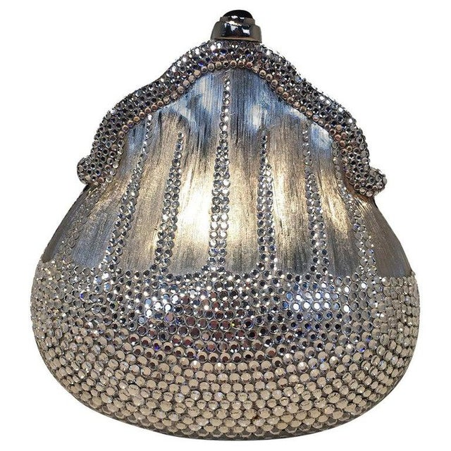 Judith Leiber Silver Metal and Swarovski Crystal Coin Pouch Minaudiere For Sale - Image 9 of 9