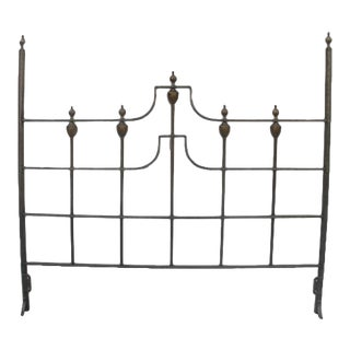 Vintage Hollywood Regency Brass Queen Headboard For Sale