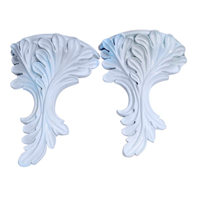 Massive White Gloss Palm Beach Regency Serge Roche Style Fig Leaf Wall Sconce Shelves - a Pair For Sale