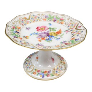 Dresden Floral Punched Tazza DIsh For Sale