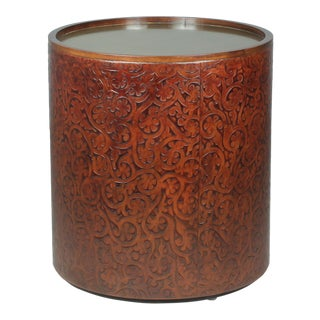 Sarreid LTD Leather Embossed Drum Side Table For Sale