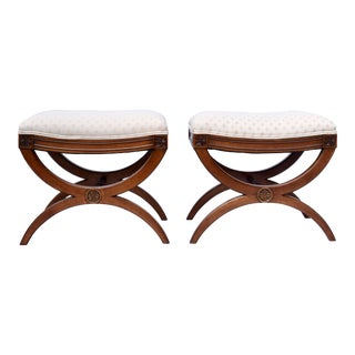 French Neoclassical Style Curule Stools or Benches by Baker - a Pair For Sale