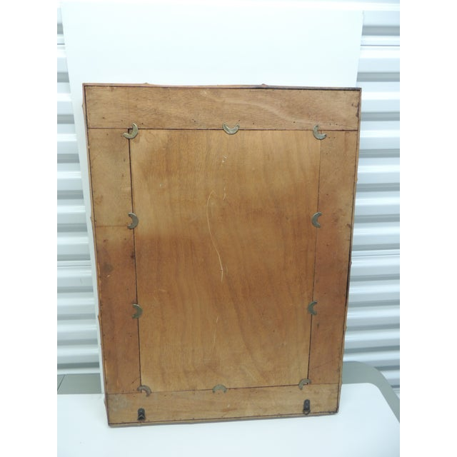 Vintage Rectangular Wood and Bamboo Mirror - Image 4 of 5