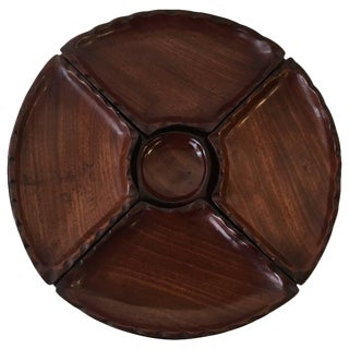 1950s Modern Rosewood Five-Piece, Pedestal Serving Tray For Sale