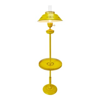 Mid Century Tole Floor Lamp W/ Table Top For Sale