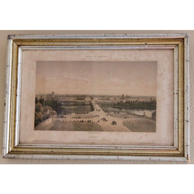 Early 20th Century French Country Prints in Silver and Gold Bamboo Style Wooden Frames - a Pair For Sale - Image 5 of 10
