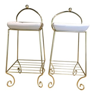 Brass and Creme Ashtray Stands - a Pair For Sale