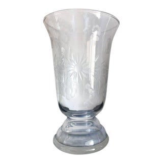 20th Art Deco Etched Glass Vase with Ornamental Motifs