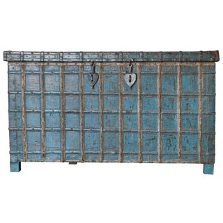 Blue Antique Indian Trunk For Sale