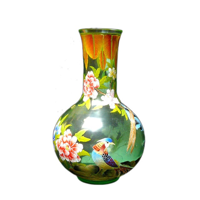 Chinese Light Green Graphic Peking Glass Vase Chairish