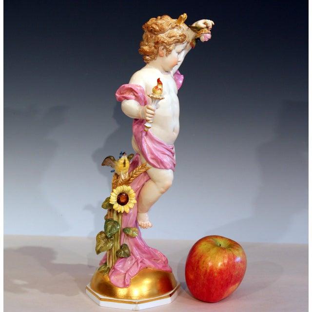"""Figurative Antique Meissen Allegorical Day Figure Porcelain German Signed 14"""" For Sale - Image 3 of 13"""