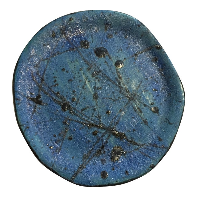Blue & Black Abstract Plate - Image 1 of 3