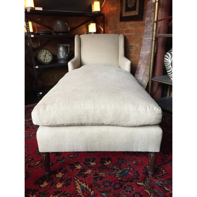 1940s 1940s Danish Chaise Lounge in Belgian Linen For Sale - Image 5 of 13