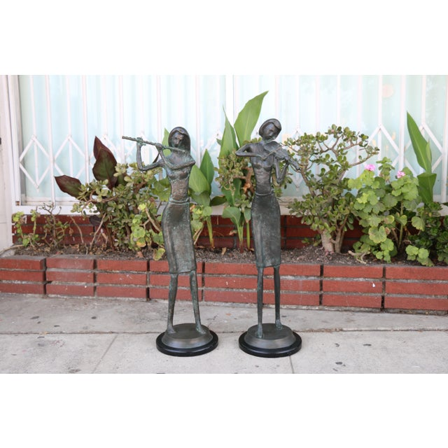 Bronze and Marble Pair of Musician Table Statues For Sale - Image 11 of 11