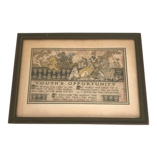"""Early 1900's """"Youth's Opportunity"""" Framed Print For Sale"""