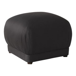 Square Ottoman in Shantung Black For Sale