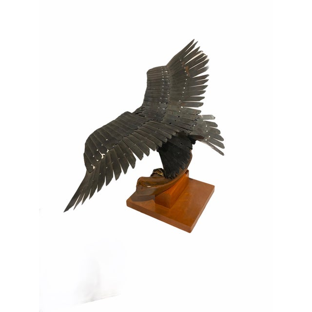 Vintage Artisan Mid-Century Welded Metal Sculpture Flying Eagle For Sale - Image 9 of 9