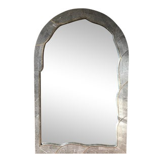 Tessellated Stone & Brass Mirror For Sale