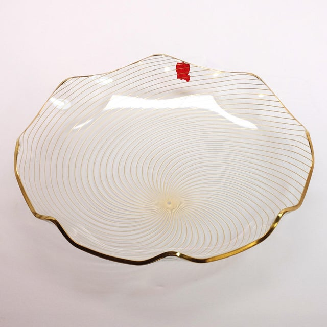 Transparent 1960s Op Art Mf Crystal Denmark Gold Filagree Spiral Bent Glass Platter For Sale - Image 8 of 8