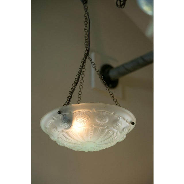 Metal Art Deco Frosted Glass Pendant For Sale - Image 7 of 7
