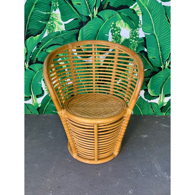 Mid-Century Modern Horizontal Rattan Albini Style Barrel Dining Chairs - Set of 4 For Sale - Image 3 of 7