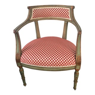 Late 20th Century Vintage Niermann Weeks Neoclassical Painted Arm Chair For Sale
