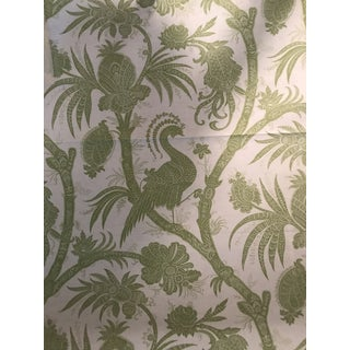 Transitional Scalamandre Balinese Peacock Pear Fabric - 1 1/2 Continuous Yards For Sale