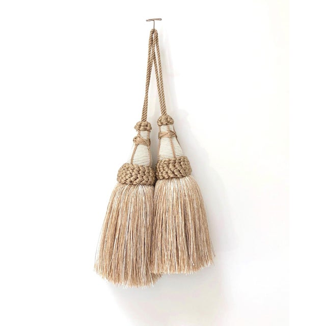 Tan and White Key Tassels With Looped Ruche Trim - a Pair For Sale - Image 10 of 10