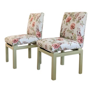 1970s Vintage Upholstered Baker Furniture Dining Chairs - a Pair For Sale