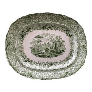 Ridgway Green & White Transferware Platter For Sale