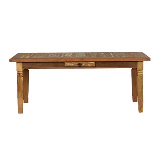 "Reclaimed Wood 79"" Dining Table ""Double Chinese Feet"""