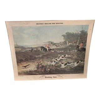 Antique English Hunting Print w.j. Shayer Breaking Cover Unframed For Sale