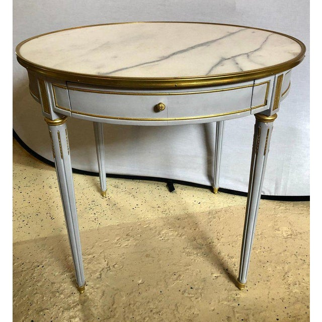1970s Pair Large Hollywood Regency Painted Bronze Mounted Bouiliotte Center End Tables For Sale - Image 5 of 13