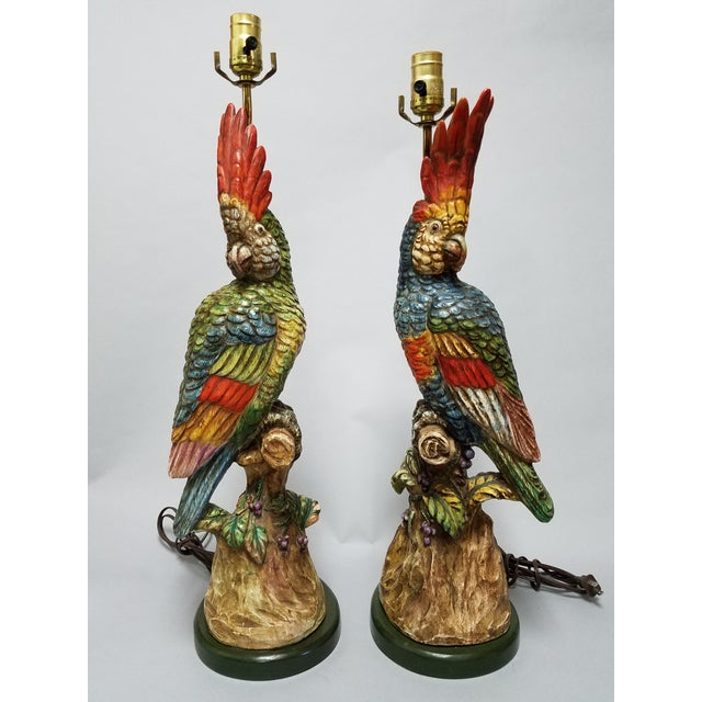 Polychrome Porcelain Cockatoo Figurative Lamp - a Pair For Sale - Image 13 of 13