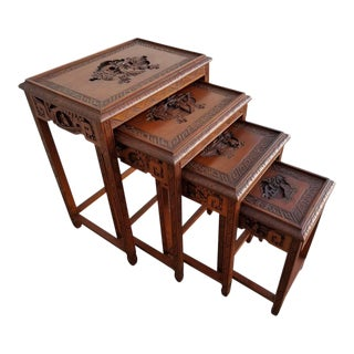 Carved Chinese Nesting Tables - Set of 4 For Sale