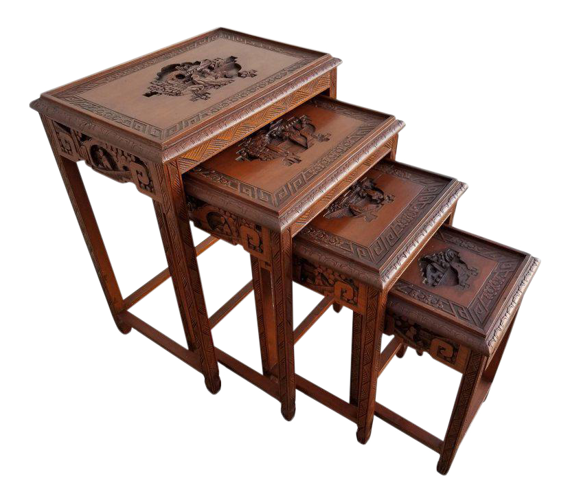 Ordinaire Carved Chinese Nesting Tables   Set Of 4
