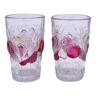 1930s Westmoreland Glass Colored Fruits Juice Glasses - Set of 2 For Sale