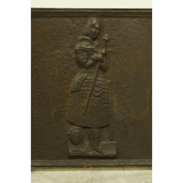 This thick casted square antique fireback is in excellent condition, showing Jeanne d'Arc ( Joan of Arc ) the national...
