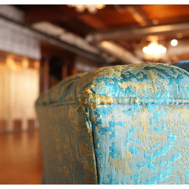 Blue and Gold Tufted Sofa by Howard Palmer for Harmony House For Sale - Image 10 of 11