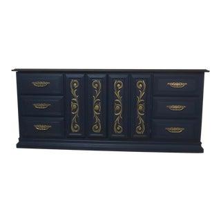 1980s Hollywood Regency StyleStyle Mark American Blue 9 Drawer Dresser