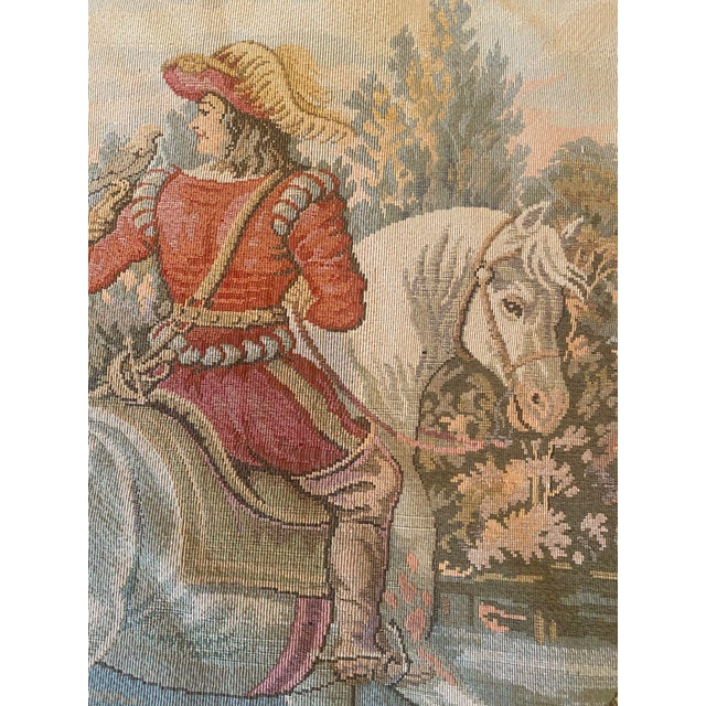 Tapestry of Renaissance Gentleman and Lady on Horseback For Sale In Los Angeles - Image 6 of 8