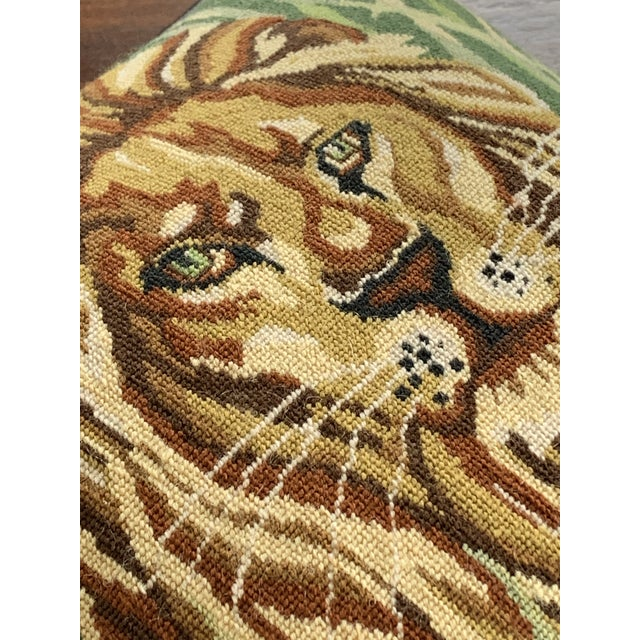 Fiber Vintage Mid Century Lion Needlepoint Pillow For Sale - Image 7 of 8