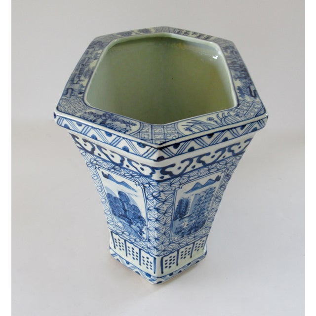 Blue Chinoiserie Blue & White Hexagonal Jardiniere For Sale - Image 8 of 13