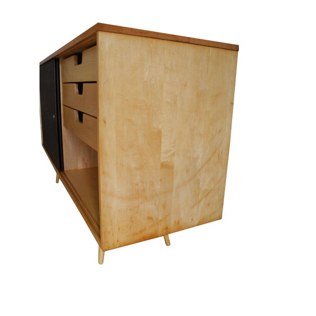 Chocolate 20th Century Modern Maple Storage Credenza / Sideboard With Shelf and Drawers by Paul McCobb For Sale - Image 8 of 13